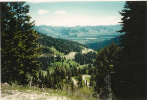 It is both awesome and humbling to reach an appointed destination and look back and see the road traveled on the journey. Teton Pass  El. 8428 ft. June21, 2998
